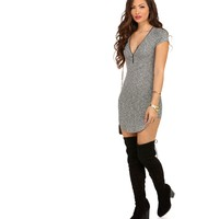 Charcoal Risk It Zipper Front Tunic