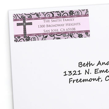 Modern Floral Wild Orchid Cross - Personalized Baptism Return Address Labels - 30 ct