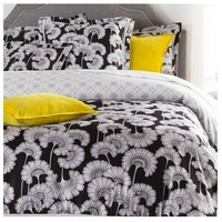 Japanese Flowers Black Duvet Bedding Set