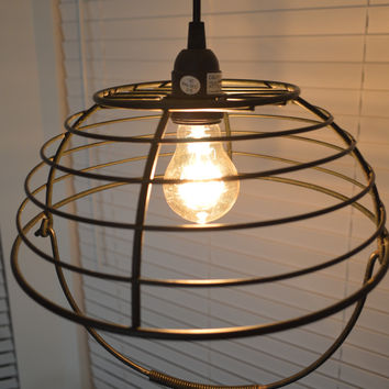 Rustic Style Black Metal Wire Basket Swag Lamp