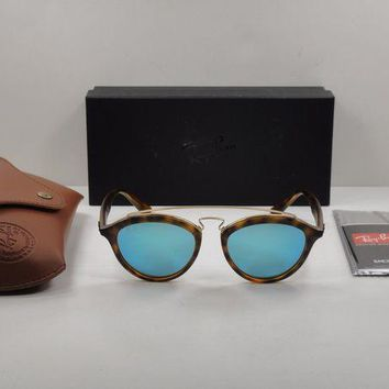 Gotopfashion RAY-BAN ROUND SUNGLASSES RB4257 609255 TORTOISE FRAME/BLUE MIRROR LENS 50MM