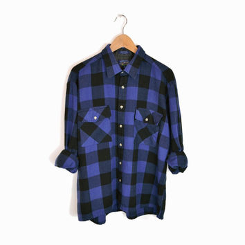 Vintage Black & Blue Buffalo Plaid Flannel Shirt - xl