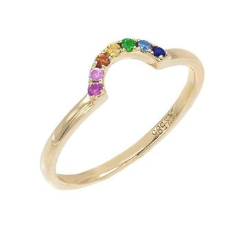 Rainbow Stack Ring 14KT