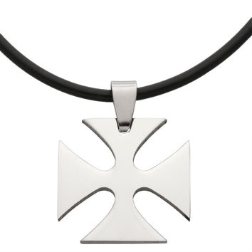 """Maltese Cross Stainless Steel Pendant Cord Necklace 20"""""""