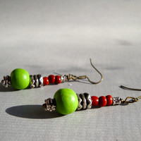 Bohemian Chic Lime and Metal Beaded Earrings for Women