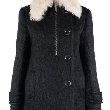 Alexander Wang Womens Black Lamb Shearling Fur Wool Coat