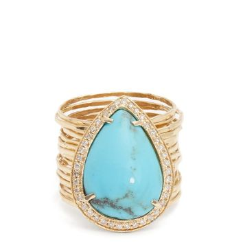 Diamond, turquoise & yellow-gold ring | Jacquie Aiche | MATCHESFASHION.COM US