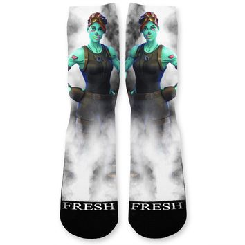 Fortnite Ghoul Trooper Custom Athletic Fresh Socks