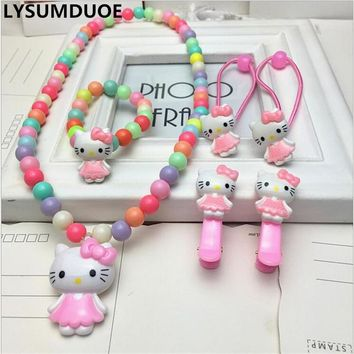 Fashion Hair Accessories Hello Kitty Necklace Bracelet Christmas Gift Girl Clip Headband Bow Hairpin Jewelry Kid Ring Accessory