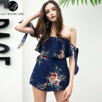 Off Shoulder Bow Boho Style Women Playsuit Navy Blue Floral Print Sexy Summer Beach Short Ruffles Girls Rompers Overalls