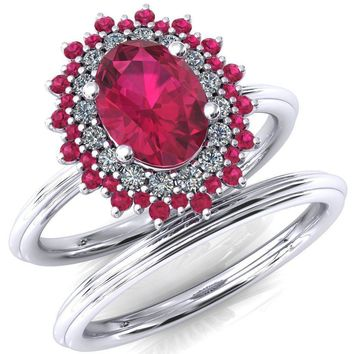 Eridanus Oval Ruby Cluster Diamond and Ruby Halo Wedding Ring ver.2