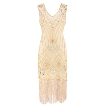 Women 1920 s Gatsby Dress Summer Sexy Party Dresses Beading V Neck Vintage Tassel Stripe Sequin Draped Fringe Flapper Dress