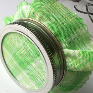 12 Green Plaid Jam Covers, Cloth Toppers, fabric for mason jars, food preservation, Christmas gifts