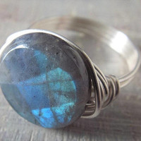 Labradorite Ring, Labradorite Jewelry, Wire Wrapped Ring, Silver Wire Ring, Birthday Gift for Her, Unique Ring, Coin Ring, Statement Ring