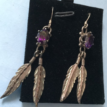Sterling Silver Dangly Feather Earrings, Amethyst Glass, Native American, Vintage Jewelry SUMMER SALE