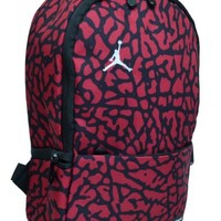 Nike Air Jordan Small Backpack for Toddler Preschool Boy or Girl in Black and Red 7A1538-681