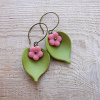 Green Pink Leaf Earrings Resin and Glass Floral Jewelry