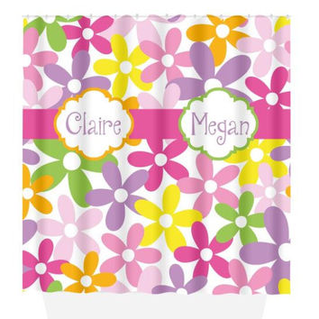 Sister SHOWER CURTAIN, Colorful Flower Bathroom, Shared Girl Bath, Custom MONOGRAM, Personalized Decor, Floral Pattern, Beach Towel Bath Mat