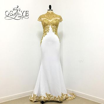 Sexy African White and Gold Mermaid Evening Dresses 2017 Robe de Soiree Lace Beaded Long Party Formal Occasion Evening Gowns