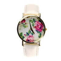 ZLYC Women Lady Vintage Fashion Floral Print Quartz Round Face Wrist Watch White