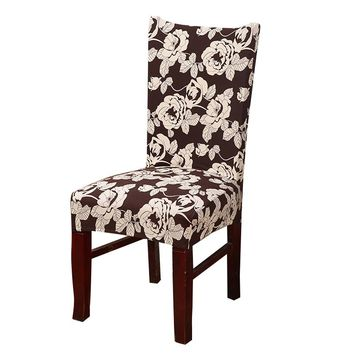MECEROCK Spandex Stretch Dining Chair Cover Floral Printing Elastic Slipcovers Restaurant Seat Cover for Wedding Hotel Banquet