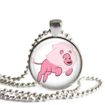 Steven Universe Lion 1 Inch Silver Plated Picture Pendant 24 Inch Necklace