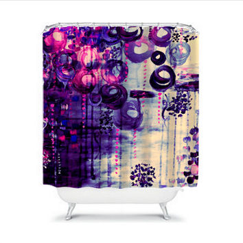BUBBLEGUM DREAMS Eggplant Purple Pink Balloons Fine Art Shower Curtain Washable Home Decor Colorful Acrylic Painting Modern Girly Bathroom