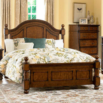 Homelegance Langston Poster Bed in Brown Cherry