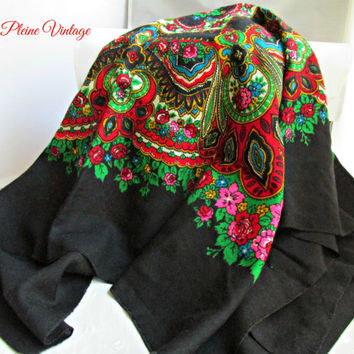 Black Wool Russian Polish Ukranine Folk Head Scarf Shawl Babushka Roses Traditional Slavic Floral