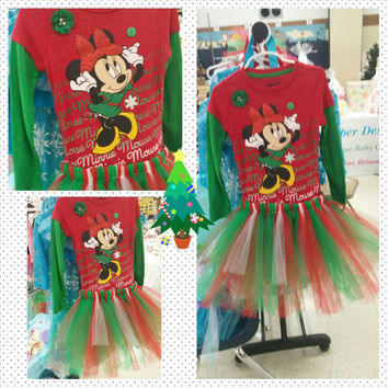 Minnie Mouse Christmas Tutu Outfit - Girls size 4/5, 6, 7/8 -  Sewn tutu - Disney world - photos - Christmas