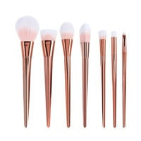 7 Pcs Nylon Facial Eye Makeup Brushes Set  -  ROSE GOLD