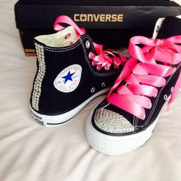 DCKL9 High Top Rhinestone Converse with Ribbon Shoelaces