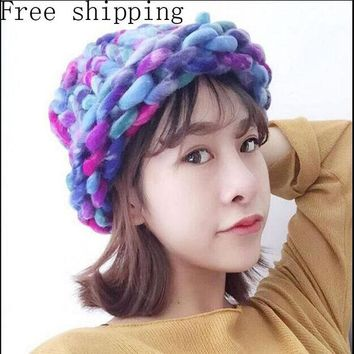 LMF9GW Fashion Women Hat Super Thick Yarns Hand Woven Knitted Hat Winter Warm Slouch Beanie Ski Cap Coarse Line Thick Wool Crochet Hat