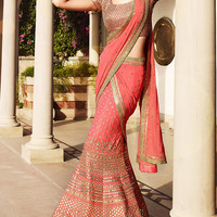 Pitchish Pink Designer  Bridal Lehenga Saree