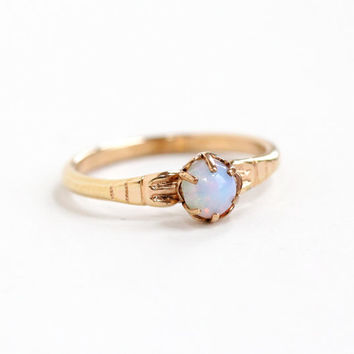 Antique Rosy Yellow Gold Tone Simulated Opal Ring -  1920s Art Deco Size 7 1/2 Round Colorful Glass Cabochon Jewelry Hallmarked Trade S Mark