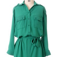 Jade Green Double Pockets Shirt - New Arrivals - Retro, Indie and Unique Fashion