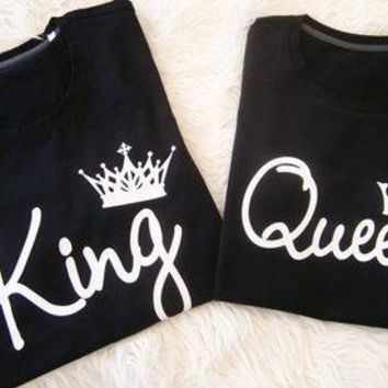 King And Queen Print Couple Clothes Shirt