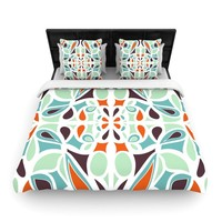 "Miranda Mol ""Orange Purple Stained Glass"" Woven Duvet - Outlet Item"