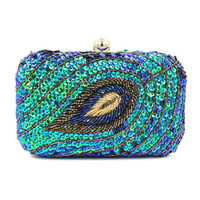 Blue Beaded Sequins Embellished Box Clutch