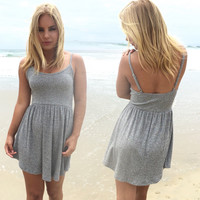 Lumiere Knit Babydoll Dress In Grey