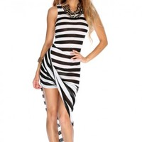 Black White Striped Draped Sexy Party Dress
