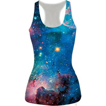 womens shiny galaxy prined slim tank top casual sports vest for summer free shipping  number 1