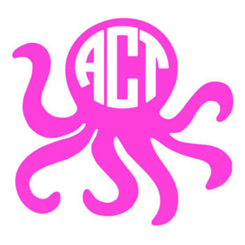 Monogrammed Octopus Decal