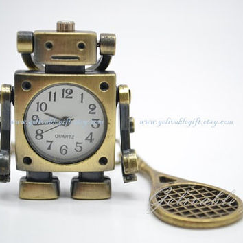 Antique brass  robot pocket watch necklace,Musical robot with headset,Sport robot with tennis racket,badminton racket pendant NWR03