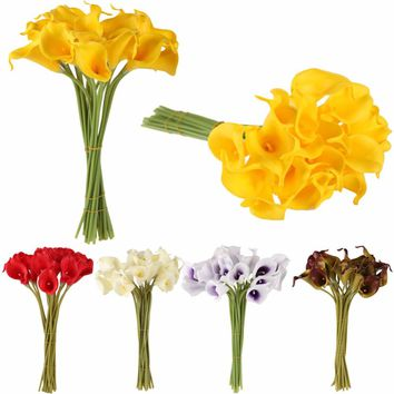 10pcs/set Artificial Flowers Calla Lily Bride Bouquet Wedding Party