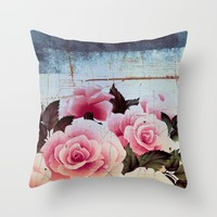 pink rose on old tile Throw Pillow by Clemm