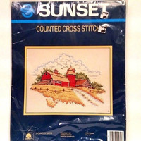 Sunset Counted Cross Stitch Kit Country Barn