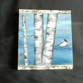 Handpainted White Birch, Bird, Wall art, barnwood, Reclaimed Wood Pallet Art, Rustic and Shabby Chic