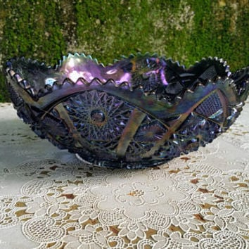 Vintage Amethyst Carnival Glass Fruit Bowl Bellaire Pattern Hobstar and Arches