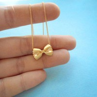 Cute, Pasta Necklace, Farfalle, Gold Necklace